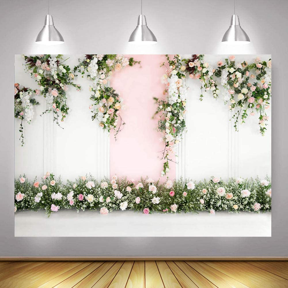 Backdrops for Wall Pink Floral Curtain Flower Wall Party Backdrops Birthday Backdrops Kids Shower Wedding Backdrops Photo Background Party Wall Decoration