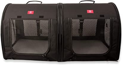One for Pets Portable 2-in-1 Double Pet Kennel/Shelter, Fabric, Black 20
