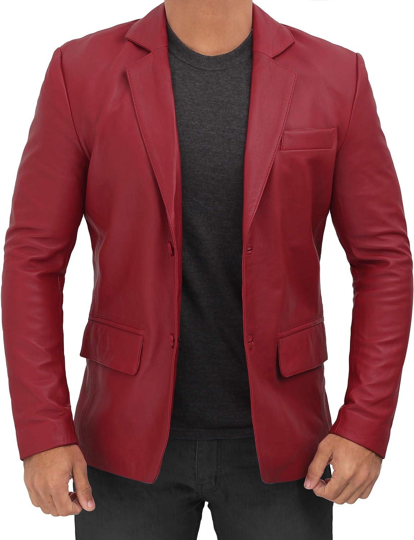 Mens Leather Jacket - Cafe Racer Lambskin Leather Jackets for Men