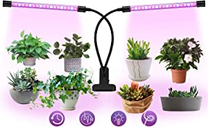 Plant Light for Indoor Plants, LaMuVii Upgraded IP67 Waterproof Grow Light Full Spectrum with 4/8/12H Timer 5 Dimmable Levels, Desk Plant Lamp for Greenhouse Hydroponics Succulent Flower