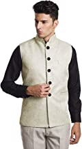 Vastraa Fusion Men's Blended Fabric Bandhgala Nehru Jacket/Waistcoat (Beige Without Piping)