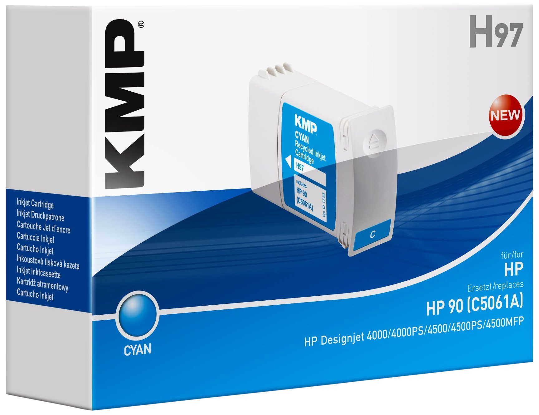 KMP 1732,4003 cartucho de tinta Cian 1 pieza(s) - Cartucho de tinta para impresoras (Cian, HP DesignJet 4000 PS HP DesignJet 4000 Series HP DesignJet 4020 42 Inch HP DesignJet 4020 PS