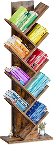 wholesale ODK Tree Bookshelf 9 outlet sale Tier, Display Book Shelves Rack for Home popular Office to Storage The CDs Magazine Comic Book,Tall Corner Bookshelf for Small Space, Rustic Brown online