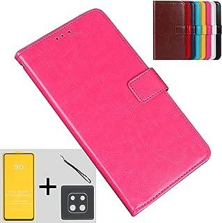 GeekDwarf【4点セット】Xiaomi Redmi Note 9s 手帳 型 ケース PU レザー カバー バンパー (ピンク:ガラスフィルム+カメラフィルム+ストラップ付き)