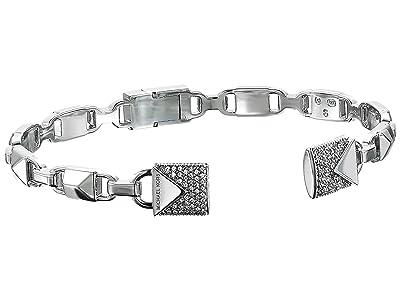 Michael Kors Precious Metal-Plated Sterling Silver Pave Open Hinge Bangle Bracelet (Silver) Bracelet