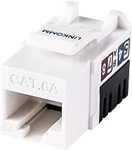 LINKOMM 25-Pack RJ45 Cat6A Slim Profile UTP Unshielded Keystone Jack with Punch Down Palm Holder (White)