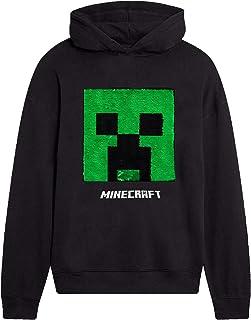 Minecraft Sudadera con Capucha para Niños, Sudaderas Adolescentes Niño, Suéter Manga Larga Hoodie de Lentejuelas Reversibl...