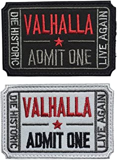 Homiego Ticket to Valhalla Admit One Die Historic Live Again Tactical Morale Badge Hook & Loop Patch (White+Black)