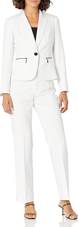 Le Suit Women's 1 Button Notch Collar Zipper Pocket Pinstripe Pant Suit