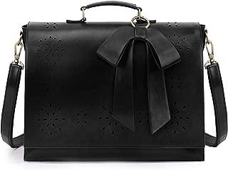 ECOSUSI Women's Briefcase Vegan Leather 15.6 inch Laptop Bag for School Shoulder Computer Satchel Bag with Detachable Bow, Black