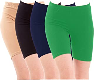 Pixie Biowashed Cycling Shorts for Girls/Women/Ladies Combo (Pack of 4) Beige, Black, NavyBlue, Green - Free Size