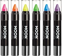 Moon Glow - Blacklight Neon Face Paint Stick / Body Crayon makeup for the Face & Body - Pastel set of 6 colours - Glows brightly under blacklights