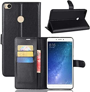 Flip cover for Xiaomi Mi Max 2 leather stand Case shockproof cover with Card Slots and Wallet Black
