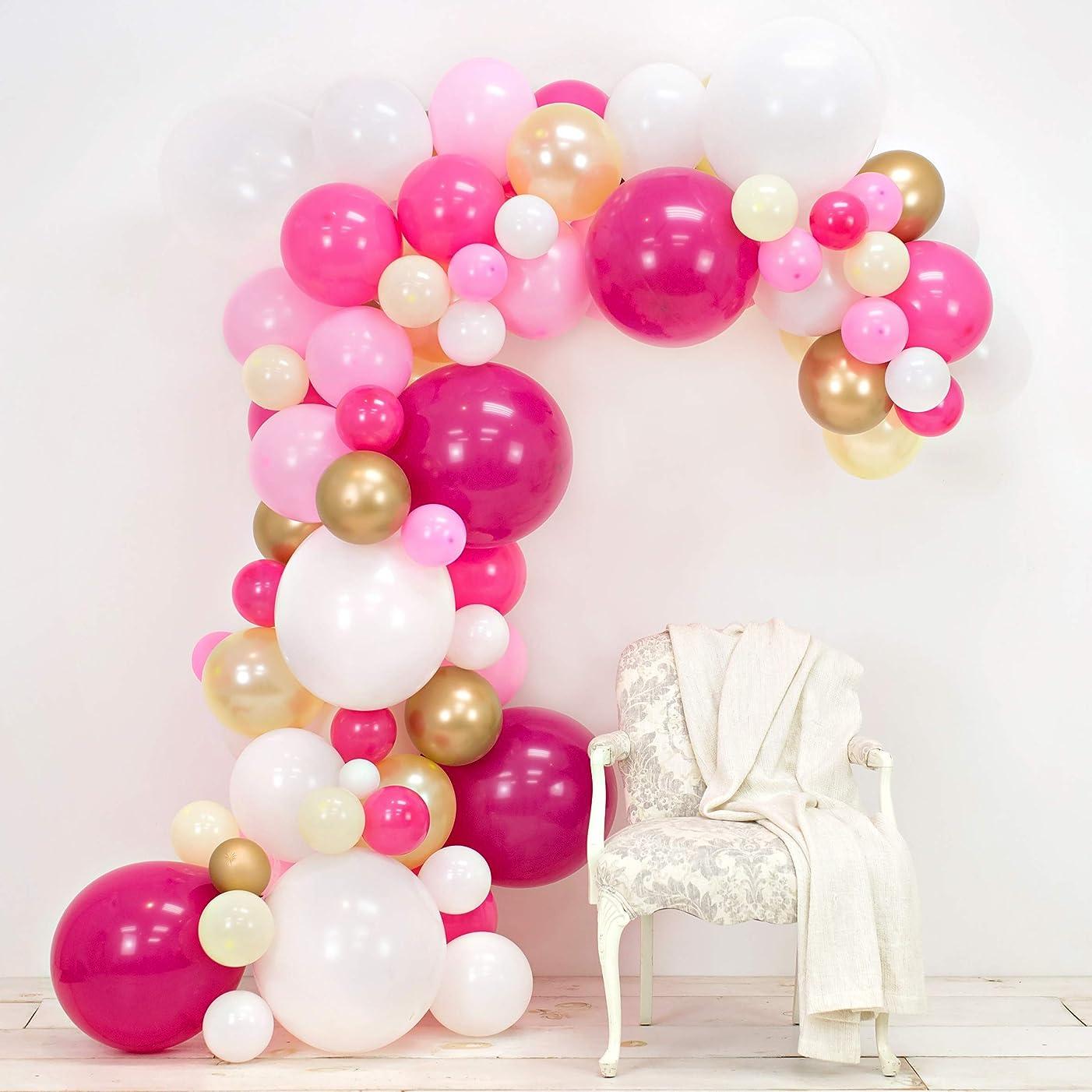 JUNIBEL Balloon Arch & Garland Kit | Fuchsia, Pink, Chrome Gold, White & Pastel Yellow | Glue Dots & Decorating Strip | Holiday, Wedding, Baby Shower, Graduation, Anniversary & Party Decorations