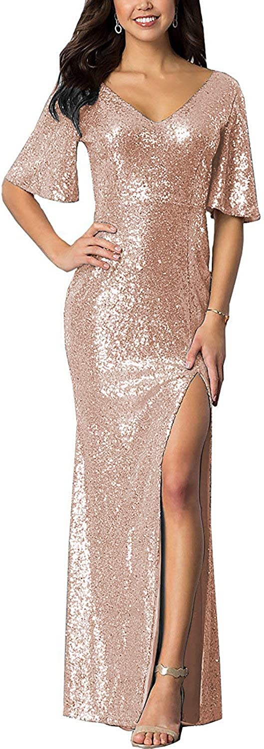 Meaningful Women's Sparkly Sequin Mermaid Slit Prom Dresses V Neck Long Evening Bridesmaid Gowns with Sleeves