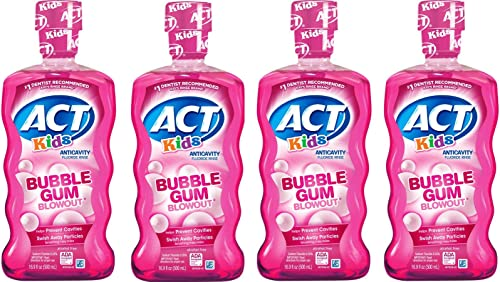 ACT Kids Anticavity Fluoride Mouthwash, Bubble Gum Blow Out 16.9 oz. (Pack of 4) by ACT
