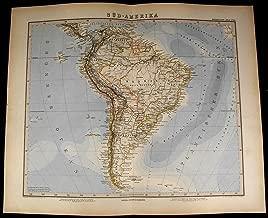 South America Brazil Patagonia Argentina Peru Ecuador 1881 fine old detailed map