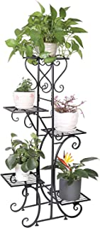 UNHO Plant Stand Indoor Outdoor Flower Stand Metal Plant Pot Holder Rack Flower Display Stand for Garden Patio Office Blac...