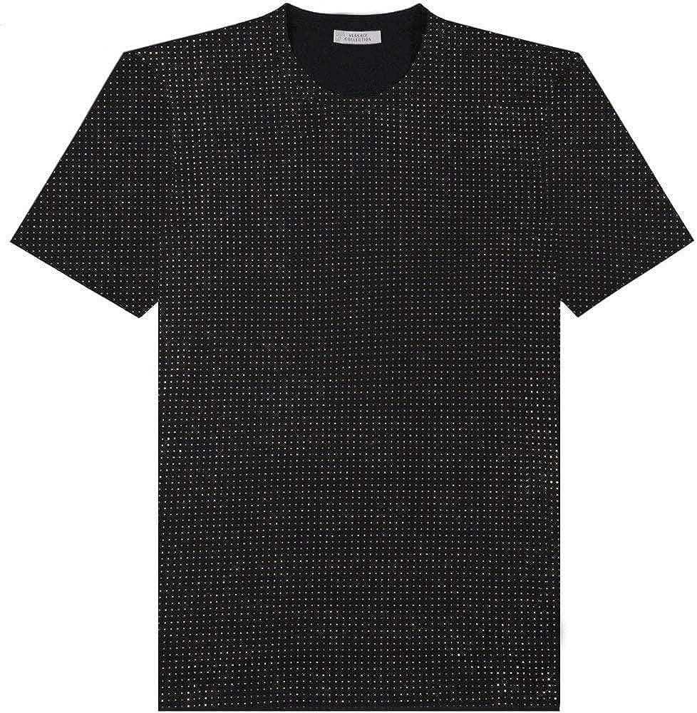 Versace collezione oro, t-shirt, maglietta da uomo, 100% cotone con borchie dorate sparse intorno, taglia s