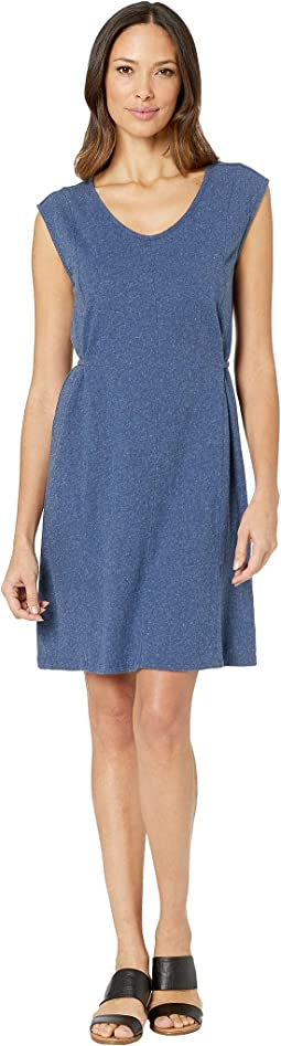 Seamed Tie Waist V-Neck Dress in Heathered Linen Cotton Jersey