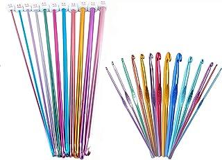 Poweka Lot de 25 aiguilles à tricoter colorées en aluminium avec crochets longs de 2 à 8 mm et crochets courts de 2 à 10 mm