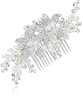HONEY BEAR Flower Hair Side Combs Clips Bridal Jewelry with Crystal for Women Wedding Decorative Accessories