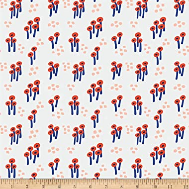 Paintbrush Studios Garden Glory Abstract Mushrooms Bright Red/White Fabric by the Yard