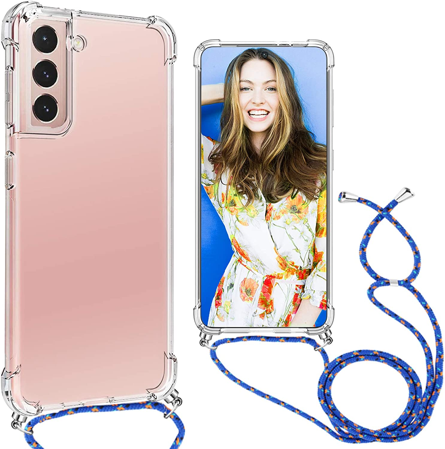 for Samsung Galaxy S21 Plus Case Clear Lanyard Crossbody Full Body Slim Case for Samsung S21 Plus Phone Case Transparent TPU Shockproof Cover Compatible with Samsung S21 Plus 5G Case for 6.7