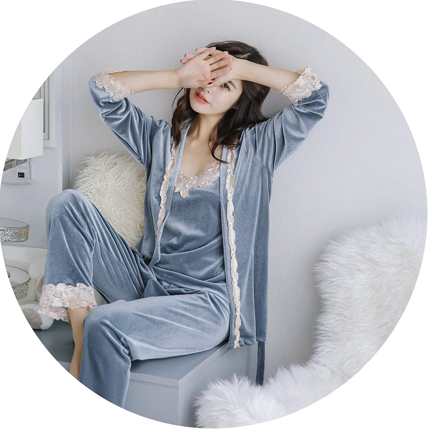 blueeshore Female Velvet Sleepwear Autumn Winter Pajamas Sexy Embroidery Sleep Lounge Pajamas for Women Pijama