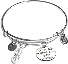 Hidden Hollow Beads Message Charm (84 Options) Expandable Wire Bangle Bracelet, in the popular style, COMES IN A GIFT BOX!