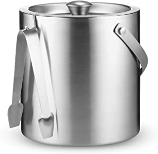 Double-Wall Stainless-Steel Insulated Ice Bucket With Lid and Ice Tong [3 Liter] Included..