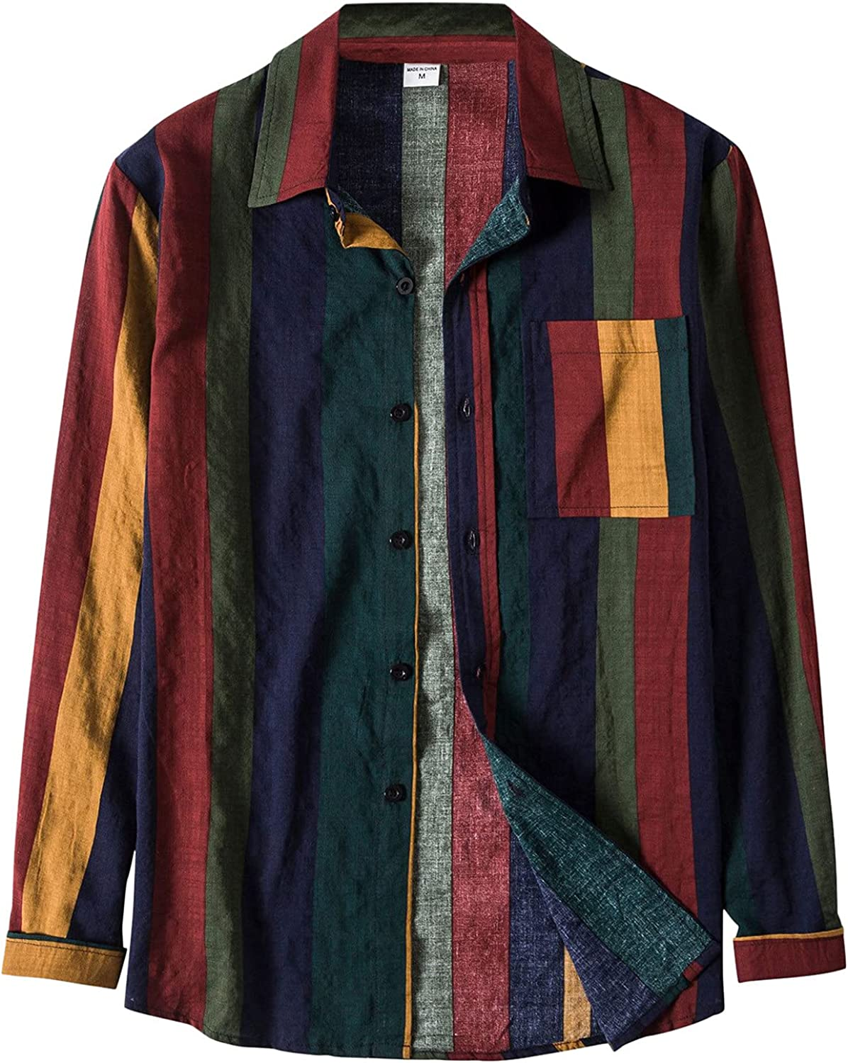 Tops for Men Solid Boston Mall Linen Colorful Butt Pocket Long Discount is also underway Sleeve Stripe