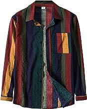 BIBOKAOKE Herenshirt met lange mouwen, revers, gestreept, bedrukt shirt met lange mouwen, borstzak, losse longsleeve vrije...