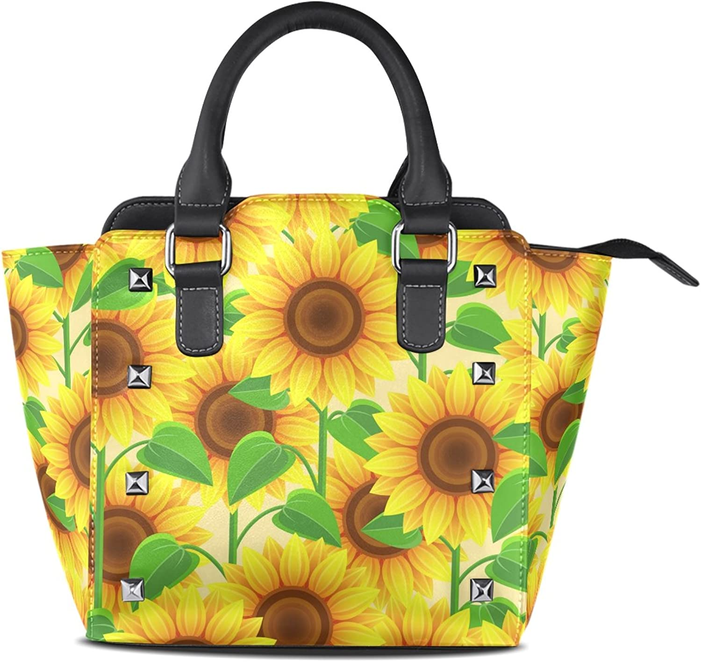 Sunlome Bright Flowers Sunflowers Print Handbags Women's PU Leather Top-Handle Shoulder Bags