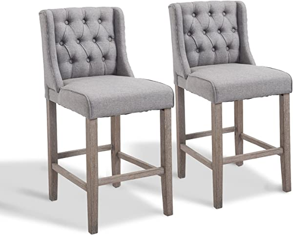 HomCom 40 Tufted Wingback Counter Height Armless Bar Stool Dining Chair Set Of 2 Grey