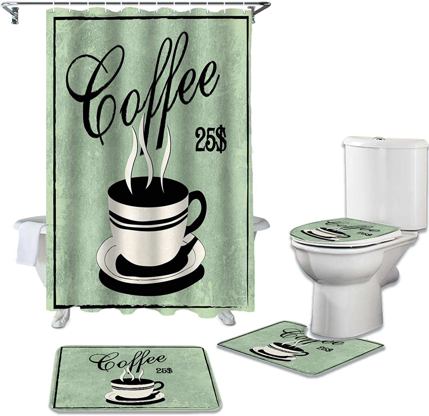 Brawvy Ranking TOP17 4 Pcs Shower Curtains Sets Cof Today's only Hooks Bathroom for 12 with
