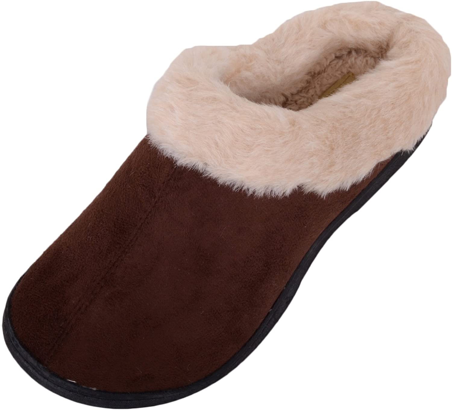 ABSOLUTE FOOTWEAR Ladies Womens Slip On Slippers Mules Indoor shoes with Warm Faux Fur Inners