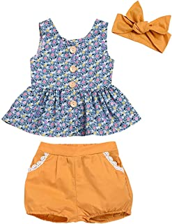 itkidboy Baby Girls Outfits Summer Clothes Short Sleeve Striped T-Shirt + Floral Pants 2PCS Clothing Set - Yellow - 9-12 M...
