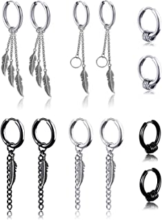 6 Pairs Kpop Feather Earrings Dangling Earrings Stainless Steel Huggie Hoop Earrings Drop Dangle Earring Chain Earrings fo...