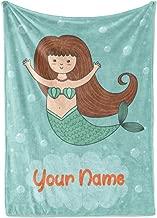 Personalized Corner Custom Light Blue Mermaid Fleece Throw Blanket for Kids - Boys Girls Baby Toddler Infants Blankets for Bed (Child 50