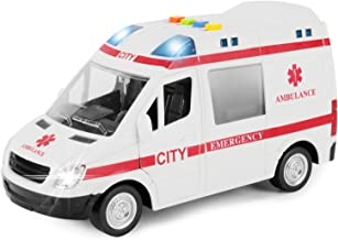 Liberty Imports Large Friction Powered Rescue Ambulance 1:16 Toy Emergency Vehicle with Lights and Sounds