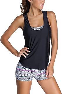 EVALESS Women 3 Pieces Tribal Printed Tankini Swimsuit Sports Bra Boyshort or Briefs with Vest