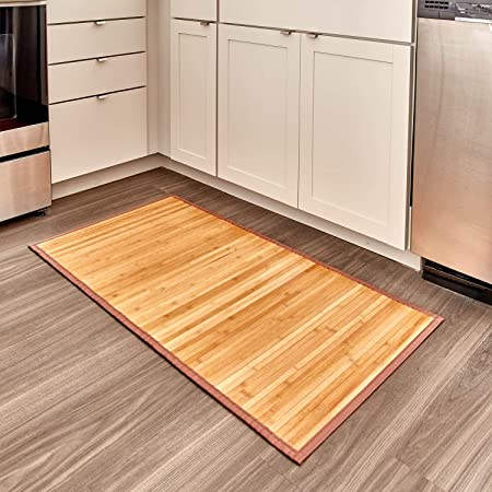 "iDesign Formbu Bamboo Floor Mat Non-Skid, Water-Repellent Runner Rug for Bathroom, Kitchen, Entryway, Hallway, Office, Mudroom, Vanity, 24"" x 48"", Natural Wood"