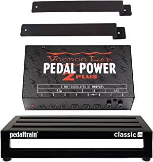 Pedaltrain Classic JR Pedalboard 4 Rails 18x12.5 w/Soft Case, Voodoo Lab Pedal Power 2 PLUS Power Supply and Mounting Kit
