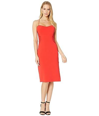 Halston Heritage Sleeveless Slip Dress w/ Strip Applique (Rose Red 1) Women