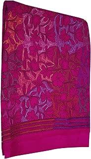 Pink Indian Pure Silk Kantha Beautiful Thread Handwork Saree Blouse Formal Festive by Bengal Weavers Diwali Navratri Sari 144