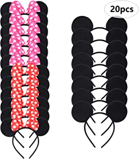 Beeager 20 pcs Mickey Minnie Mouse Ears Solid Black Pink and Red Bow Headband for Boys and Girls (Black Pink and Red)