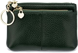 ZOOEASS Women Genuine Leather Zip Mini Coin Purse With Key Ring Triple Zipper Card Holder Wallet