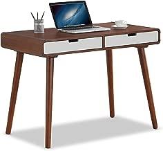 Baxton Furniture Studios Casarano Two-Tone Finish 2 Drawer Wood Home Office Writing Desk, Dark Walnut/White