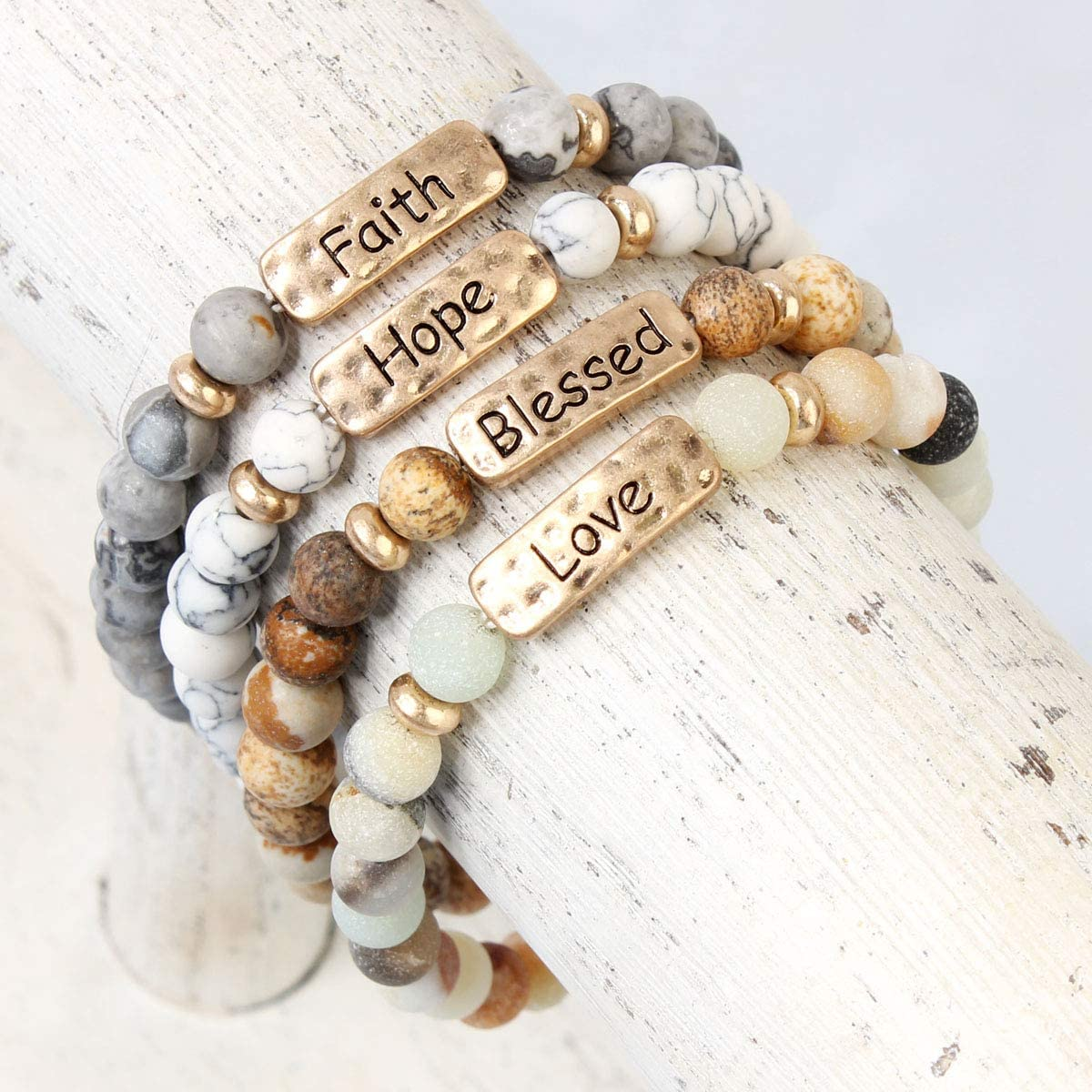 Inspirational Quote Message Prayer Beaded Bracelet - Christian Bible Cuff Blessed, Faith, Love, Hope Natural Stone Bead Stretch Bangle